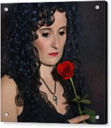 Gothic Woman With Rose Acrylic Print