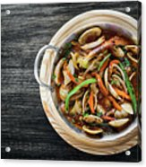 Gourmet Clam And Vegetable Seafood Stew In Spicy Tomato Sauce Acrylic Print