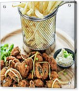 Gourmet Fried Octopus Calamari Style Set Meal With Fries Acrylic Print