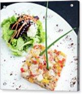 Gourmet Raw Tuna Tartare Ceviche With Mango Lime And Chilli Acrylic Print