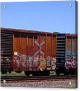 Graffiti Train With Billboard Acrylic Print