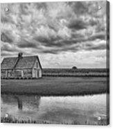 Grain Barn And Sky - Reflection Acrylic Print