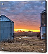 Grain Bin Sunset 2 Acrylic Print