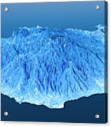 Gran Canaria Topographic Map 3d Landscape View Blue Color Acrylic Print