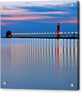 Grand Haven Pier Lights At Night Acrylic Print