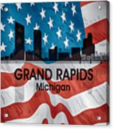 Grand Rapids Mi American Flag Squared Acrylic Print