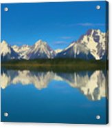 Grand Teton Reflection Wood Texture Acrylic Print