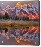 Grand Teton Snake River Sunrise Reflections Acrylic Print