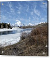 Grand Tetons From Oxbow Bend At A Distance Acrylic Print