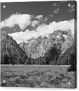 Grand Tetons In Black And White Acrylic Print
