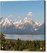Grand Tetons Over Jackson Lake Panorama Acrylic Print by Brian Harig