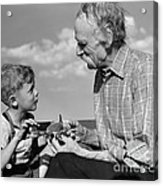 Grandfather And Boy With Model Plane Acrylic Print