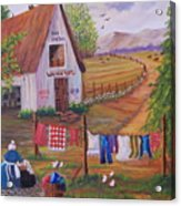 Granny And Her Laundry Acrylic Print by Janna Columbus
