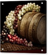 Grapes And Wine Barrel Acrylic Print