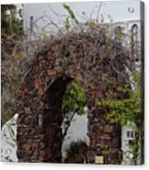 Grapevine Covered Stone Garden Door Acrylic Print