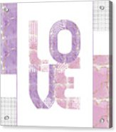 Graphic Art Gold Love - Rose And Violet Acrylic Print