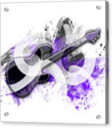 Graphic Art Guitar - Purple Acrylic Print