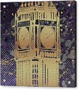 Graphic Art London Big Ben - Ultraviolet And Golden Acrylic Print