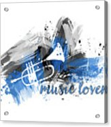 Graphic Art Music Lover - Blue Acrylic Print