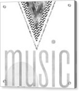 Graphic Art Silver Music On - World Off Acrylic Print