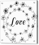 Graphic Black And White Flower Ring Of Love Acrylic Print