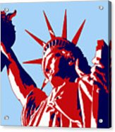 Graphic Statue Of Liberty Red White Blue Acrylic Print