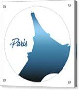 Graphic Style Paris Eiffel Tower Blue Acrylic Print