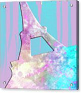 Graphic Style Paris Eiffel Tower Pink Acrylic Print by Melanie Viola