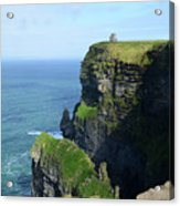 Grass Growing Along The Cliff's Of Moher In Ireland Acrylic Print