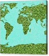 Grass World Map Acrylic Print