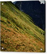 Grassy Before The Top Of The Rocky Hill Acrylic Print