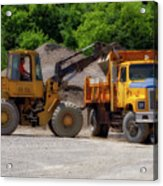 Gravel Pit Loader And Dump Truck 01 Acrylic Print