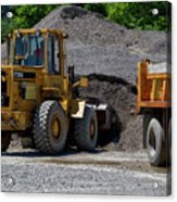 Gravel Pit Loader And Dump Truck 04 Acrylic Print