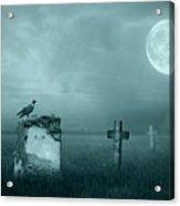 Gravestones In Moonlight Acrylic Print by Jaroslaw Grudzinski