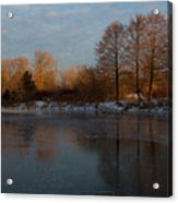 Gray And Amber - An Early Winter Morning On The Lake Shore Acrylic Print