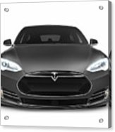 Gray Tesla Model S Luxury Electric Car Front View Isolated On Wh Acrylic Print