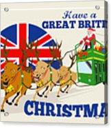 Great British Christmas Santa Reindeer Doube Decker Bus Acrylic Print