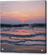 Great Fountain Geyser Sunset Reflections Acrylic Print