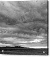 Great Salt Lake Clouds At Sunset - Black And White Acrylic Print