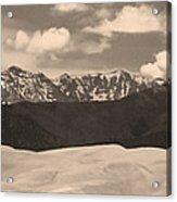 Great Sand Dunes Panorama 1 Sepia Acrylic Print
