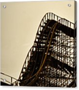 Great White Roller Coaster - Adventure Pier Wildwood Nj In Sepia Triptych 1 Acrylic Print