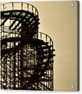 Great White Roller Coaster - Adventure Pier Wildwood Nj In Sepia Triptych 3 Acrylic Print