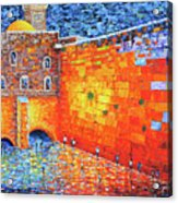 Wailing Wall Greatness In The Evening Jerusalem Palette Knife Painting Acrylic Print
