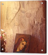 Greece. Lesvos. 16th Century Fresco And Virgin Mary Icon Acrylic Print