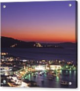 Greece Mykonos Harbor. Dusk Acrylic Print