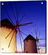 Greece. Mykonos Town. Illuminated Windmills At Dusk. Acrylic Print