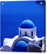Greek Blue Vertical Acrylic Print