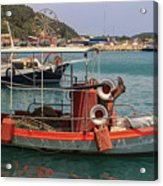 Greek Boat And Boots Acrylic Print