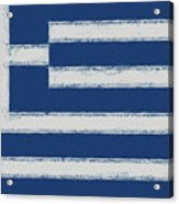 Greek Flag Smudged Acrylic Print