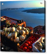 Greek Food At Santorini Acrylic Print by David Smith